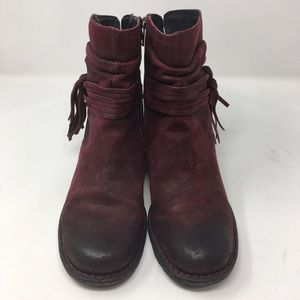 BORN | cross boots amarena red oiled suede booties